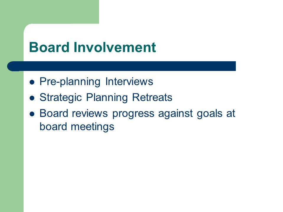 Board Involvement Pre-planning Interviews Strategic Planning Retreats Board reviews progress against goals at board meetings