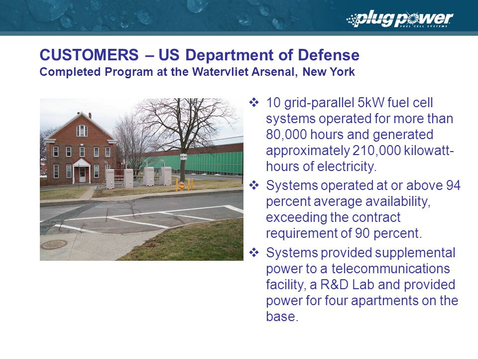 CUSTOMERS – US Department of Defense Completed Program at the Watervliet Arsenal, New York 10 grid-parallel 5kW fuel cell systems operated for more than 80,000 hours and generated approximately 210,000 kilowatt- hours of electricity.
