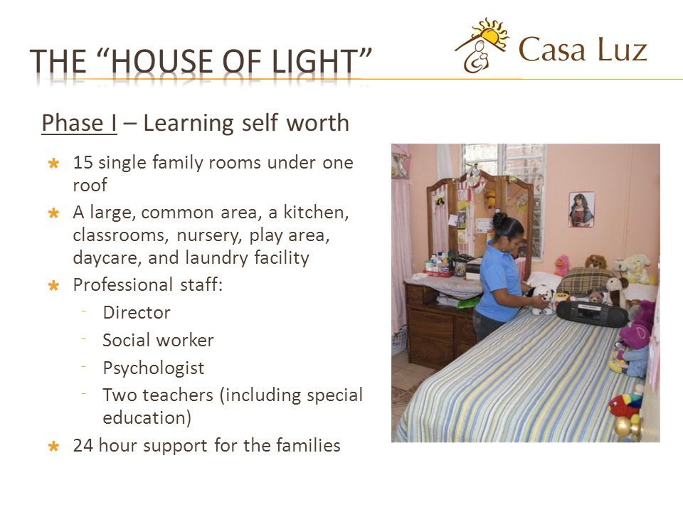 15 single family rooms under one roof A large, common area, a kitchen, classrooms, nursery, play area, daycare, and laundry facility Professional staff: Director Social worker Psychologist Two teachers (including special education) 24 hour support for the families Phase I – Learning self worth