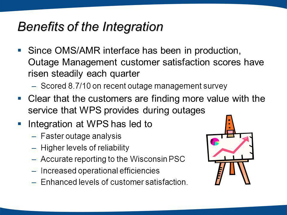 Since OMS/AMR interface has been in production, Outage Management customer satisfaction scores have risen steadily each quarter –Scored 8.7/10 on recent outage management survey Clear that the customers are finding more value with the service that WPS provides during outages Integration at WPS has led to –Faster outage analysis –Higher levels of reliability –Accurate reporting to the Wisconsin PSC –Increased operational efficiencies –Enhanced levels of customer satisfaction.