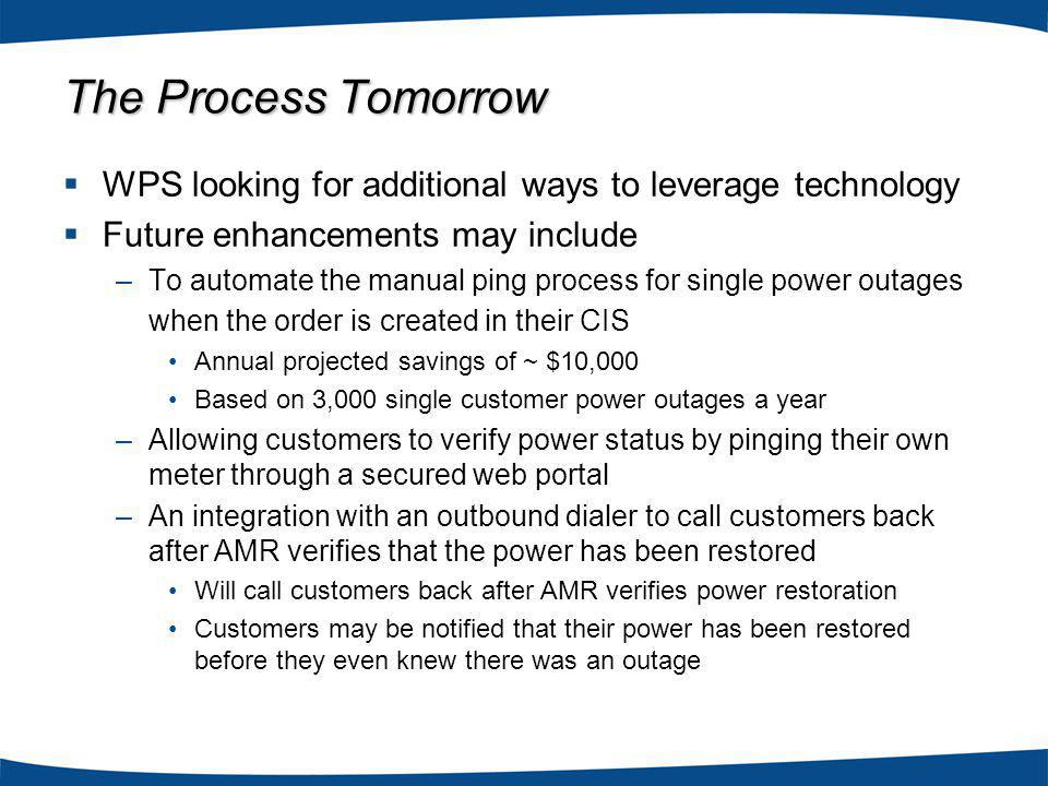 WPS looking for additional ways to leverage technology Future enhancements may include –To automate the manual ping process for single power outages when the order is created in their CIS Annual projected savings of ~ $10,000 Based on 3,000 single customer power outages a year –Allowing customers to verify power status by pinging their own meter through a secured web portal –An integration with an outbound dialer to call customers back after AMR verifies that the power has been restored Will call customers back after AMR verifies power restoration Customers may be notified that their power has been restored before they even knew there was an outage The Process Tomorrow