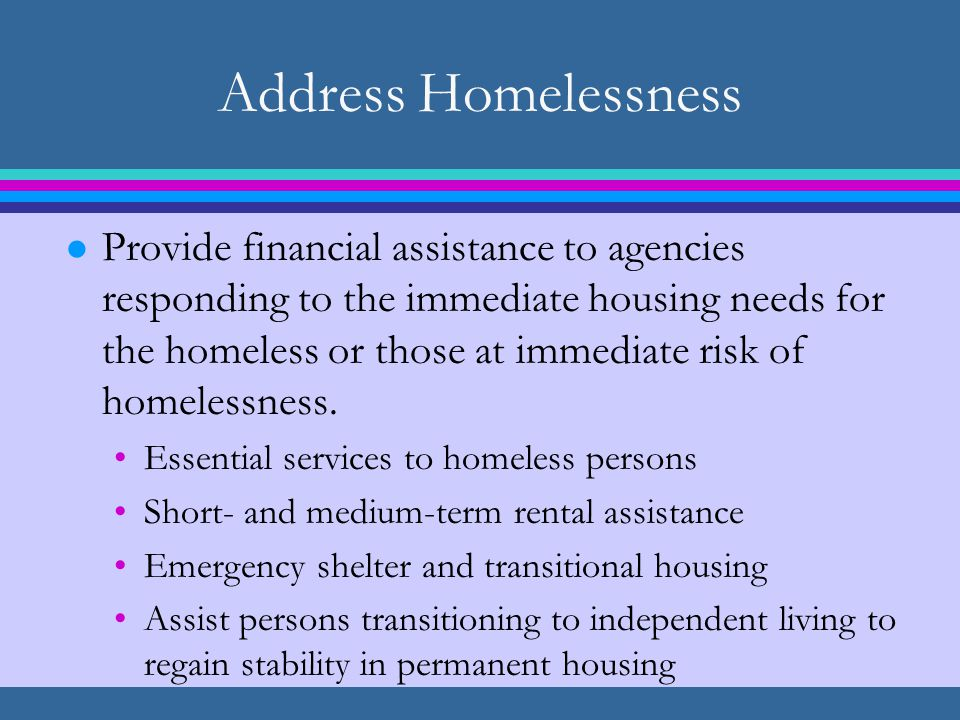 Address Homelessness l Provide financial assistance to agencies responding to the immediate housing needs for the homeless or those at immediate risk of homelessness.
