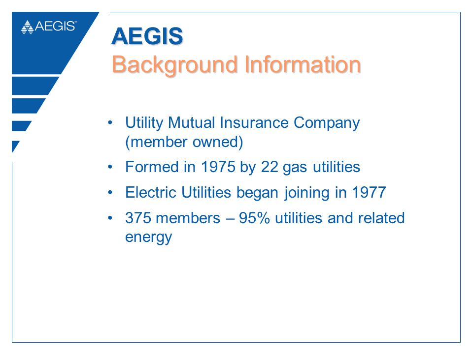 Utility Mutual Insurance Company (member owned) Formed in 1975 by 22 gas utilities Electric Utilities began joining in 1977 375 members – 95% utilities and related energy AEGIS Background Information