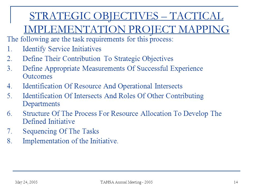May 24, 2005 TAHSA Annual Meeting - 2005 14 STRATEGIC OBJECTIVES – TACTICAL IMPLEMENTATION PROJECT MAPPING The following are the task requirements for this process: 1.Identify Service Initiatives 2.Define Their Contribution To Strategic Objectives 3.Define Appropriate Measurements Of Successful Experience Outcomes 4.Identification Of Resource And Operational Intersects 5.Identification Of Intersects And Roles Of Other Contributing Departments 6.Structure Of The Process For Resource Allocation To Develop The Defined Initiative 7.Sequencing Of The Tasks 8.Implementation of the Initiative.