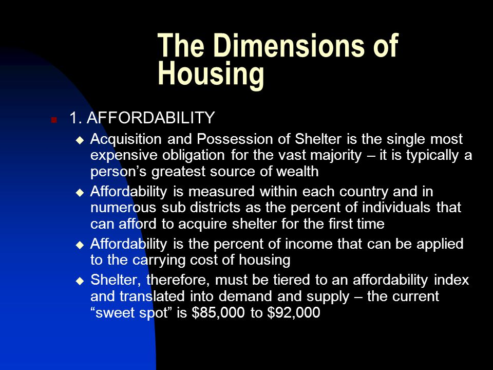 The Dimensions of Housing 1.