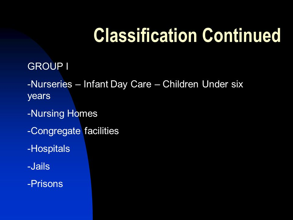 Classification Continued GROUP I -Nurseries – Infant Day Care – Children Under six years -Nursing Homes -Congregate facilities -Hospitals -Jails -Prisons