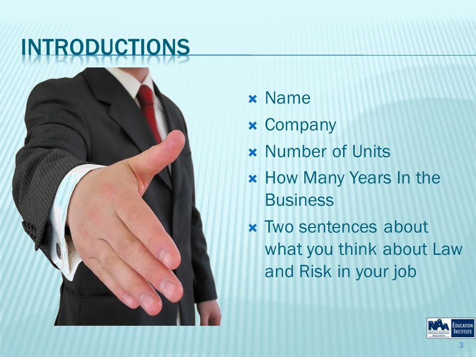 Name Company Number of Units How Many Years In the Business Two sentences about what you think about Law and Risk in your job 3