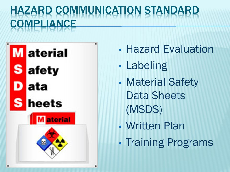 Hazard Evaluation Labeling Material Safety Data Sheets (MSDS) Written Plan Training Programs