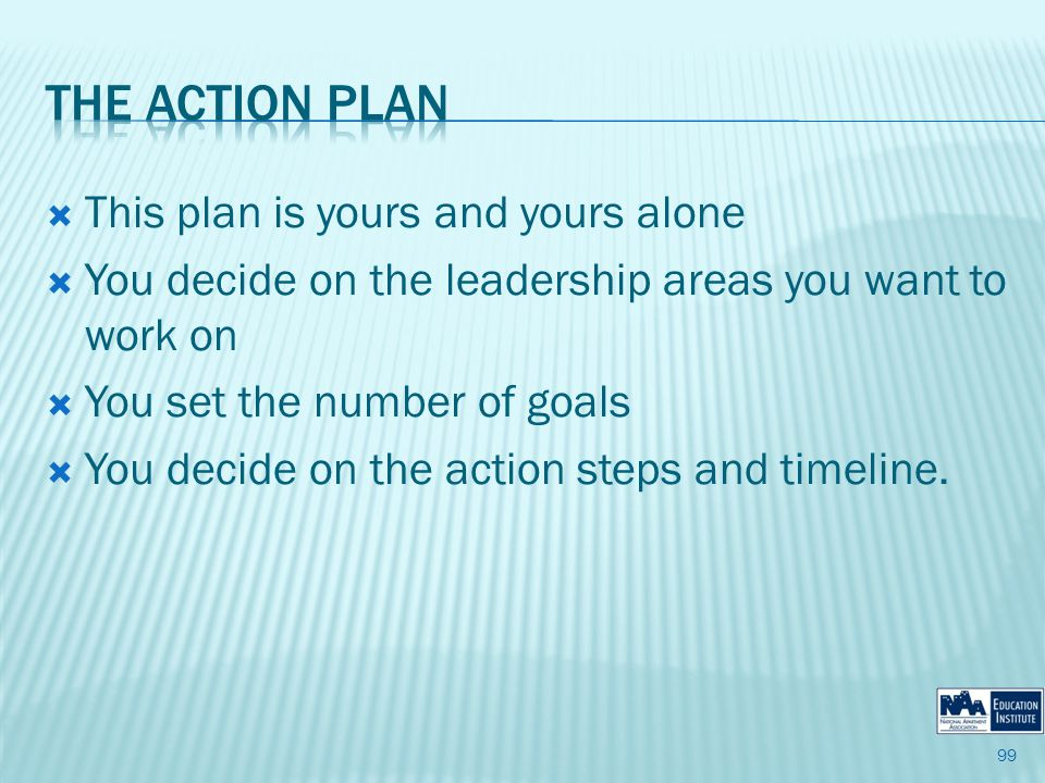 This plan is yours and yours alone You decide on the leadership areas you want to work on You set the number of goals You decide on the action steps and timeline.
