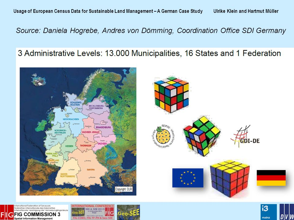 Usage of European Census Data for Sustainable Land Management – A German Case Study Ulrike Klein and Hartmut Müller Source: Daniela Hogrebe, Andres von Dömming, Coordination Office SDI Germany