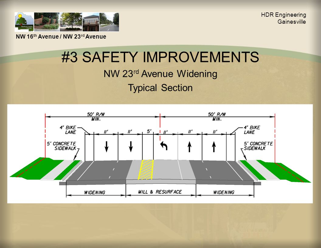 #3 SAFETY IMPROVEMENTS NW 23 rd Avenue Widening Typical Section HDR Engineering Gainesville NW 16 th Avenue / NW 23 rd Avenue