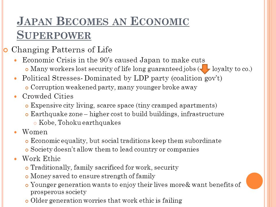J APAN B ECOMES AN E CONOMIC S UPERPOWER Changing Patterns of Life Economic Crisis in the 90s caused Japan to make cuts Many workers lost security of life long guaranteed jobs ( loyalty to co.) Political Stresses- Dominated by LDP party (coalition govt) Corruption weakened party, many younger broke away Crowded Cities Expensive city living, scarce space (tiny cramped apartments) Earthquake zone – higher cost to build buildings, infrastructure Kobe, Tohoku earthquakes Women Economic equality, but social traditions keep them subordinate Society doesnt allow them to lead country or companies Work Ethic Traditionally, family sacrificed for work, security Money saved to ensure strength of family Younger generation wants to enjoy their lives more& want benefits of prosperous society Older generation worries that work ethic is failing