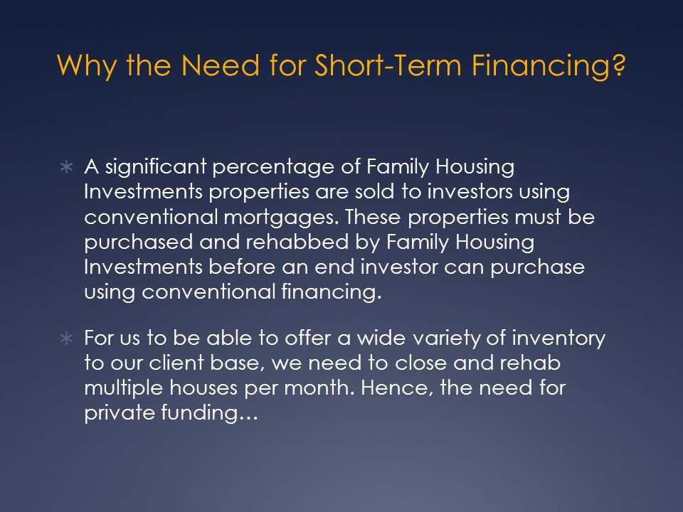 Why the Need for Short-Term Financing.