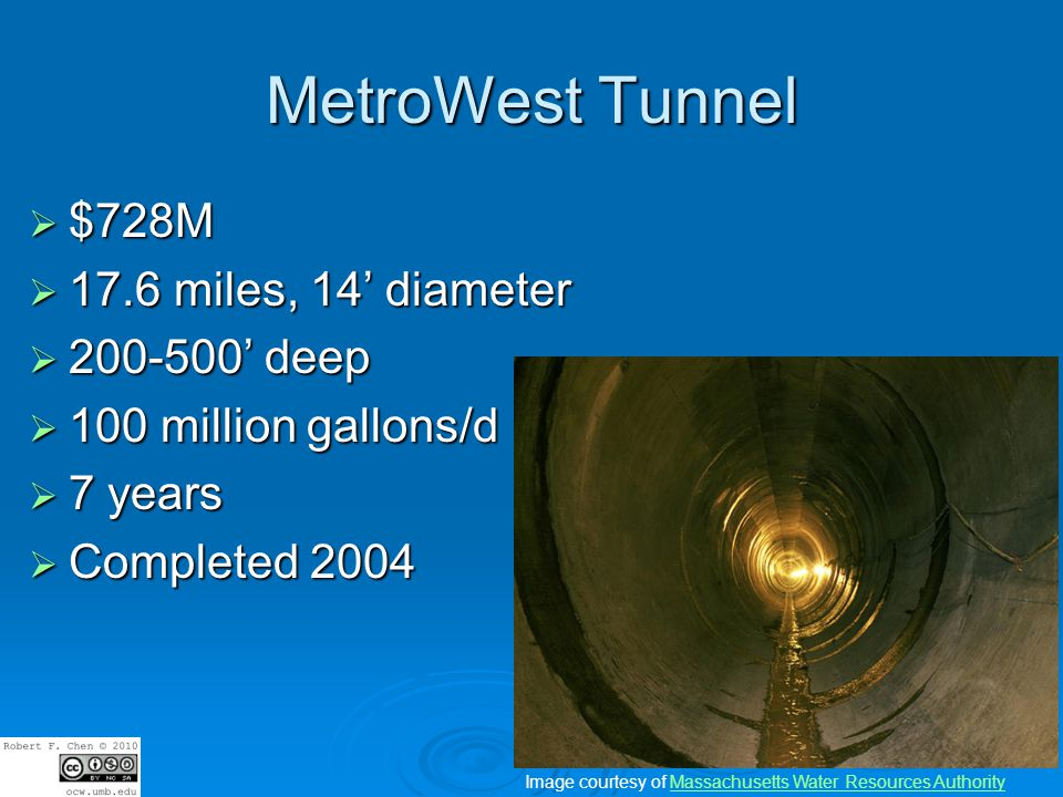MetroWest Tunnel $728M $728M 17.6 miles, 14 diameter 17.6 miles, 14 diameter 200-500 deep 200-500 deep 100 million gallons/d 100 million gallons/d 7 years 7 years Completed 2004 Completed 2004 Image courtesy of Massachusetts Water Resources AuthorityMassachusetts Water Resources Authority