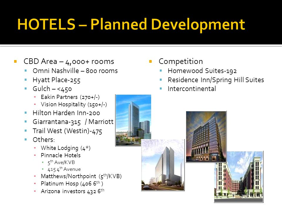 CBD Area – 4,000+ rooms Omni Nashville – 800 rooms Hyatt Place-255 Gulch – <450 Eakin Partners (270+/-) Vision Hospitality (150+/-) Hilton Harden Inn-200 Giarrantana-315 / Marriott Trail West (Westin)-475 Others: White Lodging (4*) Pinnacle Hotels 5 th Ave/KVB 415 4 th Avenue Matthews/Northpoint (5 th /KVB) Platinum Hosp (406 6 th ) Arizona investors 432 6 th Competition Homewood Suites-192 Residence Inn/Spring Hill Suites Intercontinental