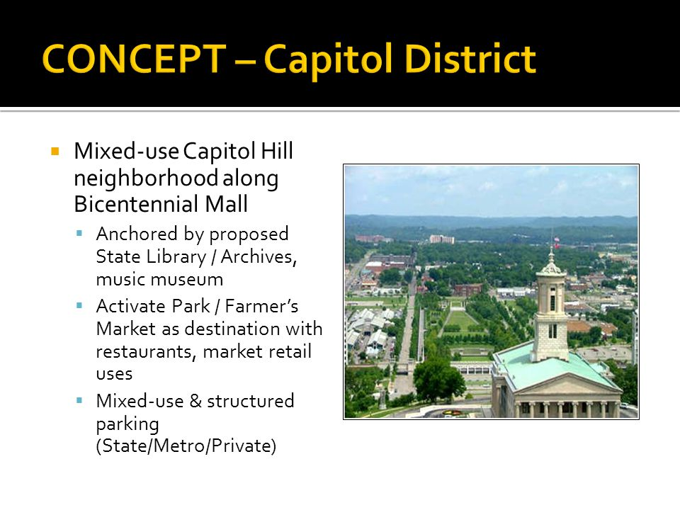 Mixed-use Capitol Hill neighborhood along Bicentennial Mall Anchored by proposed State Library / Archives, music museum Activate Park / Farmers Market as destination with restaurants, market retail uses Mixed-use & structured parking (State/Metro/Private)