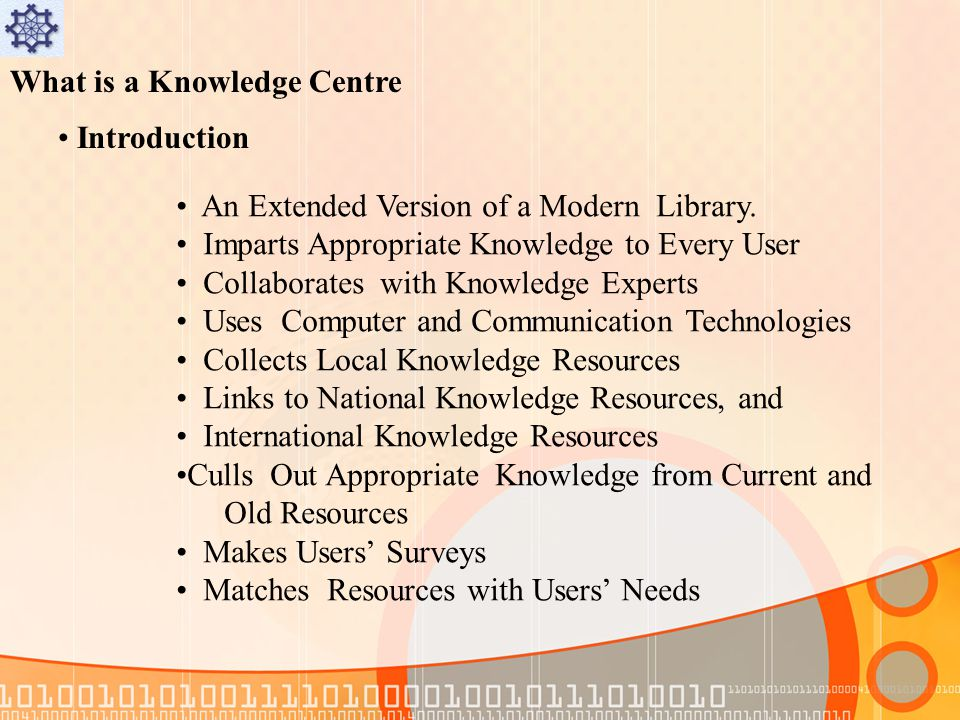 What is a Knowledge Centre Introduction An Extended Version of a Modern Library.