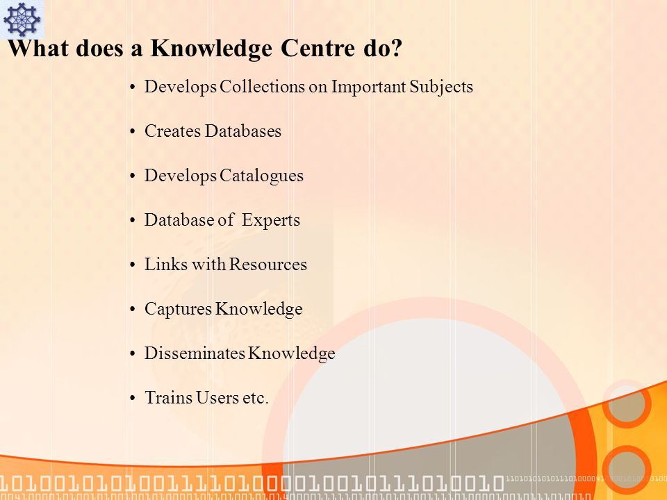 What does a Knowledge Centre do.