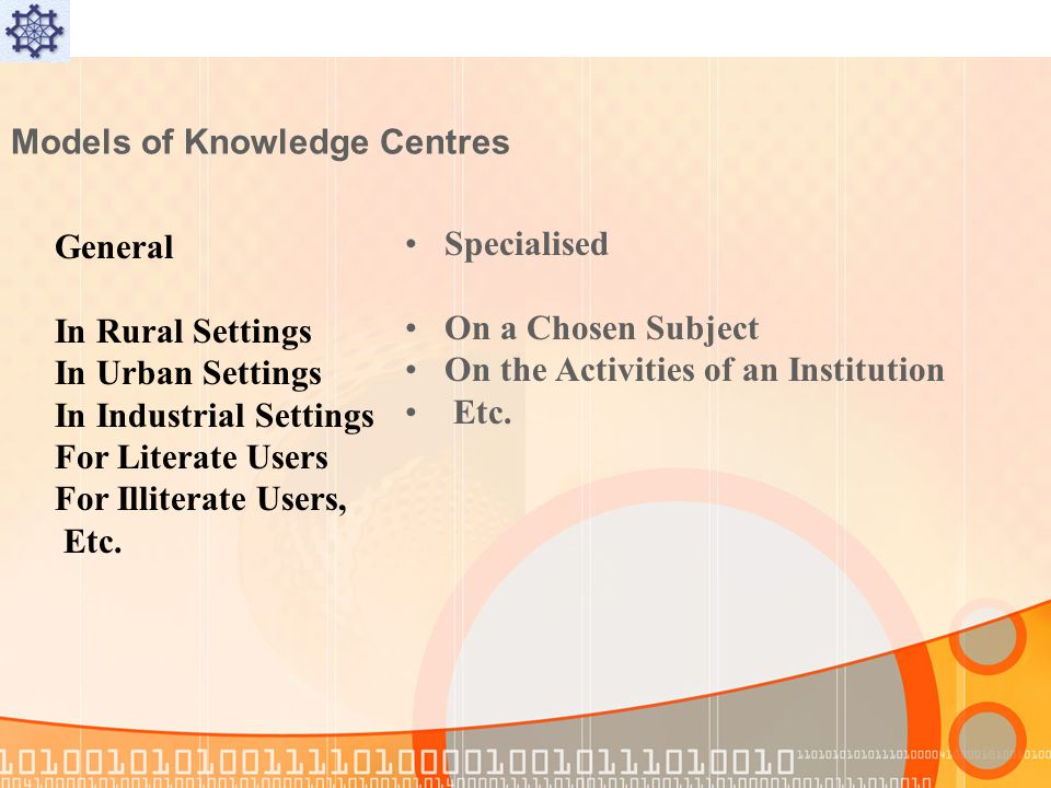 Models of Knowledge Centres Specialised On a Chosen Subject On the Activities of an Institution Etc.