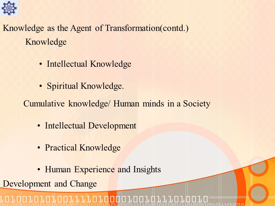 Knowledge as the Agent of Transformation(contd.) Knowledge Intellectual Knowledge Spiritual Knowledge.
