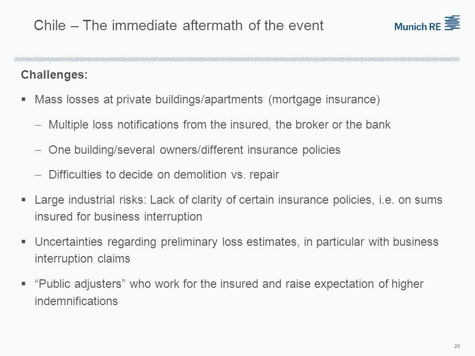 Challenges: Mass losses at private buildings/apartments (mortgage insurance) Multiple loss notifications from the insured, the broker or the bank One building/several owners/different insurance policies Difficulties to decide on demolition vs.