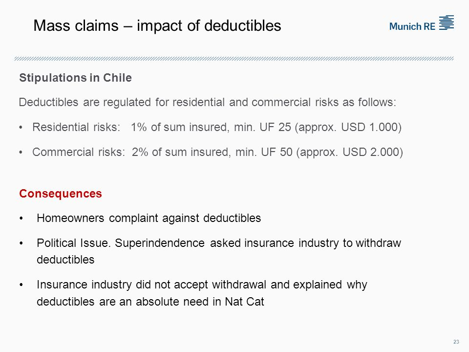 Stipulations in Chile Deductibles are regulated for residential and commercial risks as follows: Residential risks: 1% of sum insured, min.