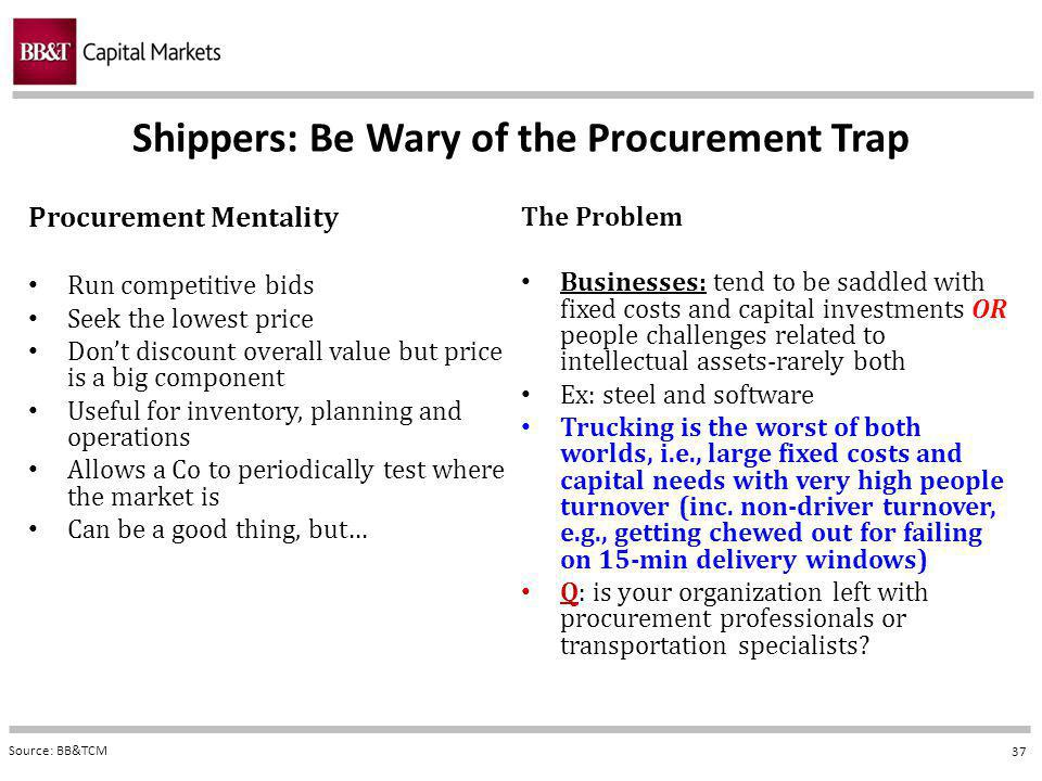 37 Procurement Mentality Run competitive bids Seek the lowest price Dont discount overall value but price is a big component Useful for inventory, planning and operations Allows a Co to periodically test where the market is Can be a good thing, but… The Problem Businesses: tend to be saddled with fixed costs and capital investments OR people challenges related to intellectual assets-rarely both Ex: steel and software Trucking is the worst of both worlds, i.e., large fixed costs and capital needs with very high people turnover (inc.