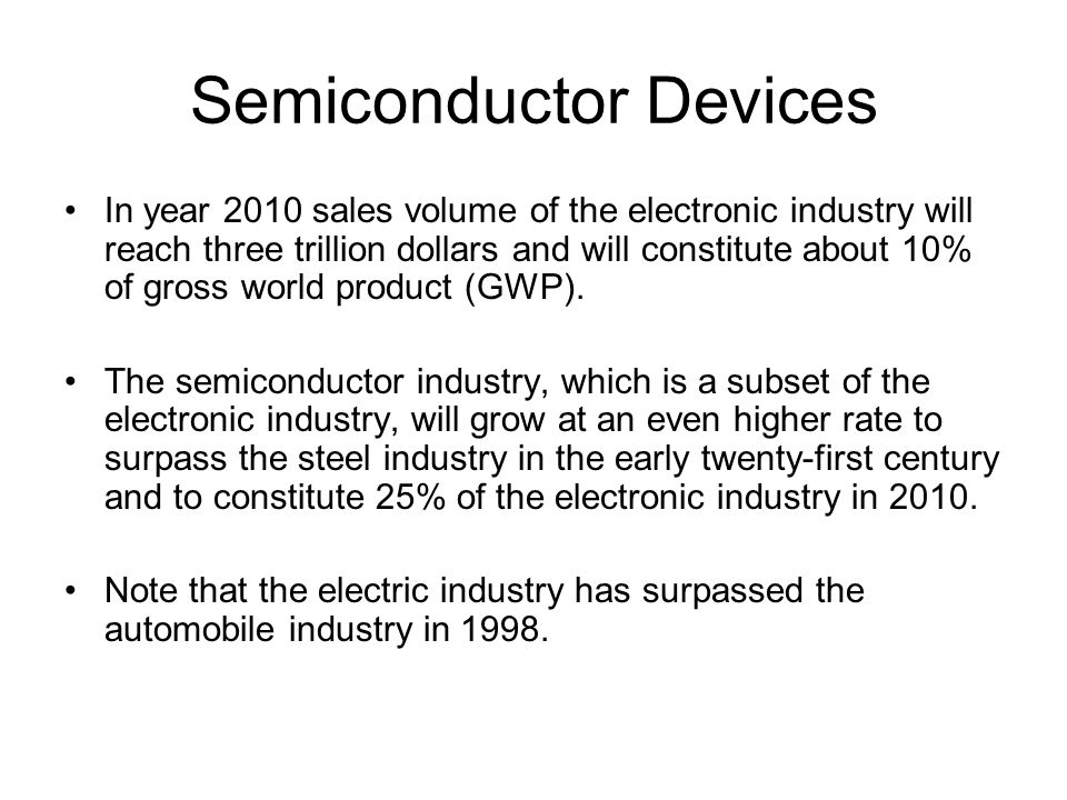 Semiconductor Devices In year 2010 sales volume of the electronic industry will reach three trillion dollars and will constitute about 10% of gross world product (GWP).