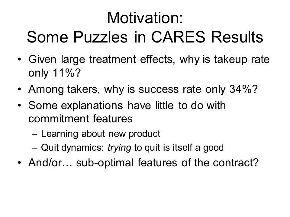 Motivation: Some Puzzles in CARES Results Given large treatment effects, why is takeup rate only 11%.