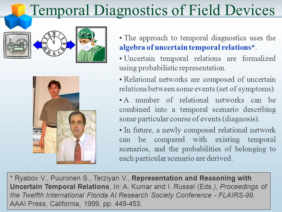 Temporal Diagnostics of Field Devices The approach to temporal diagnostics uses the algebra of uncertain temporal relations*.