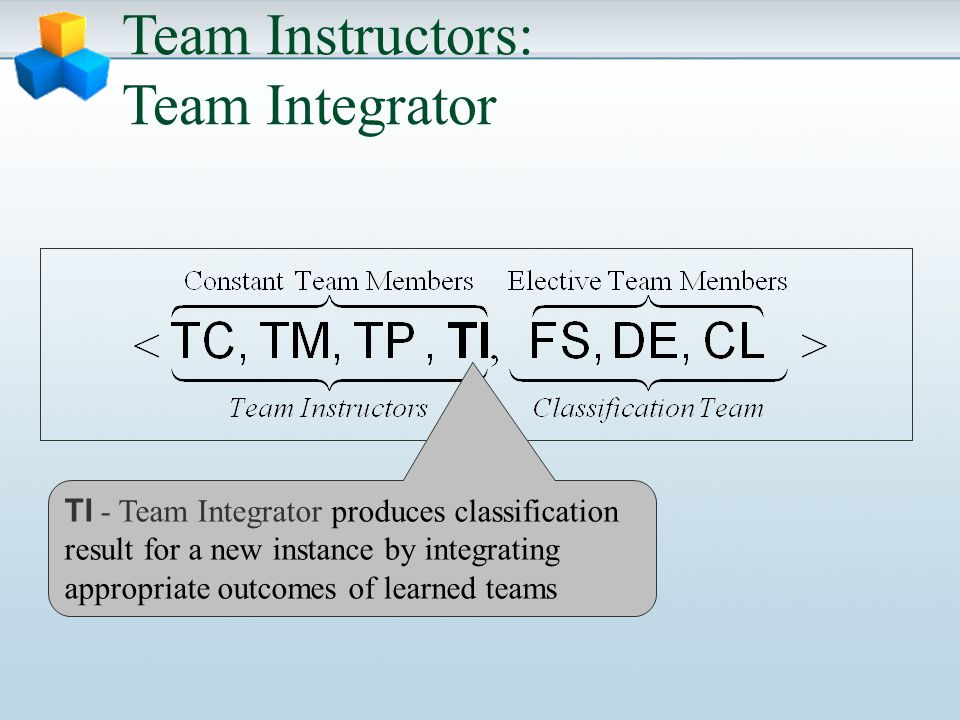 Team Instructors: Team Integrator TI - Team Integrator produces classification result for a new instance by integrating appropriate outcomes of learned teams