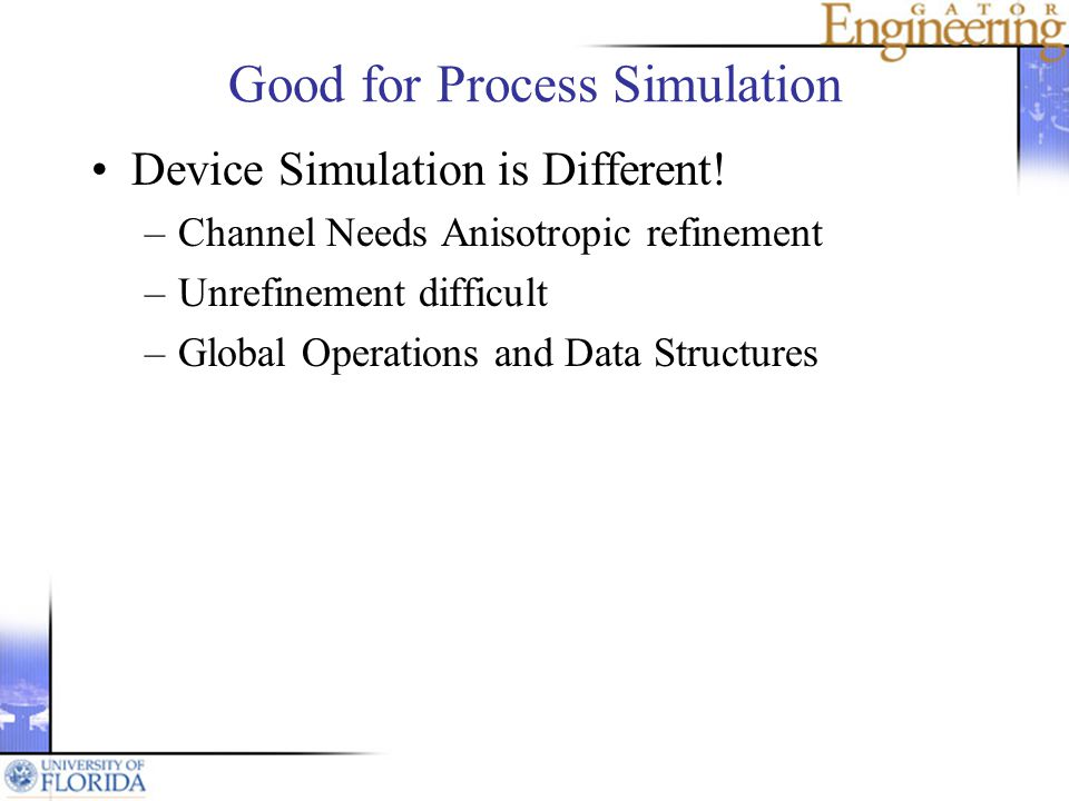 Good for Process Simulation Device Simulation is Different.