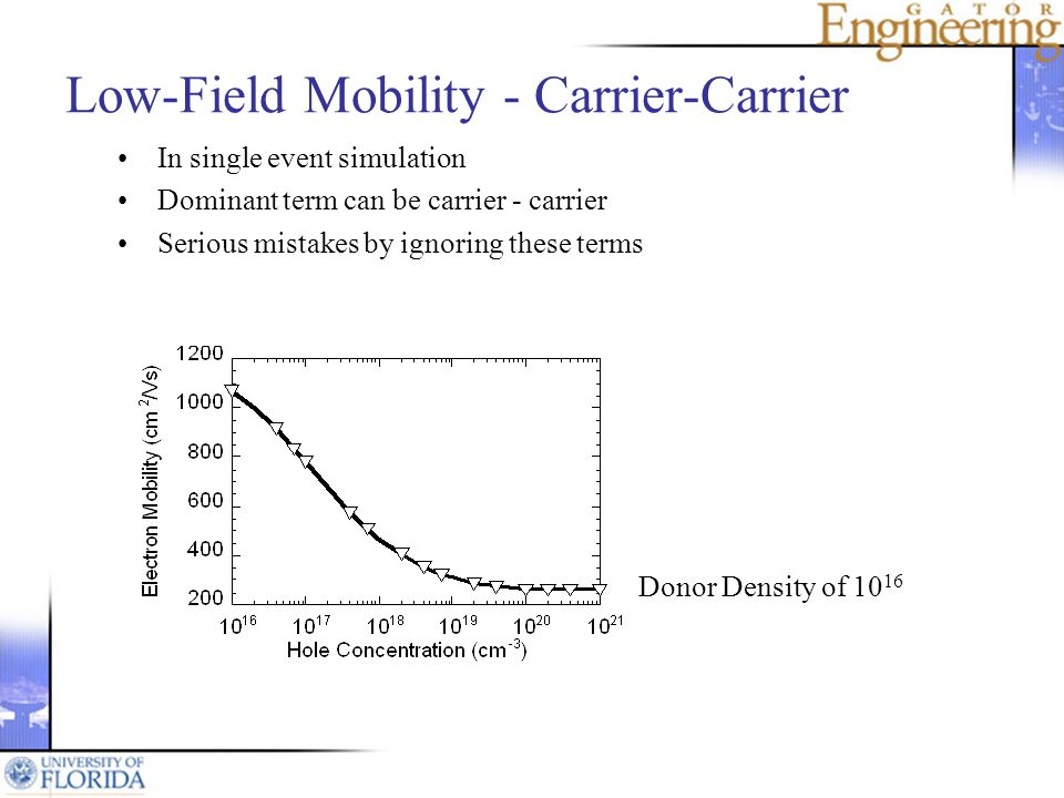 Low-Field Mobility - Carrier-Carrier In single event simulation Dominant term can be carrier - carrier Serious mistakes by ignoring these terms Donor Density of 10 16