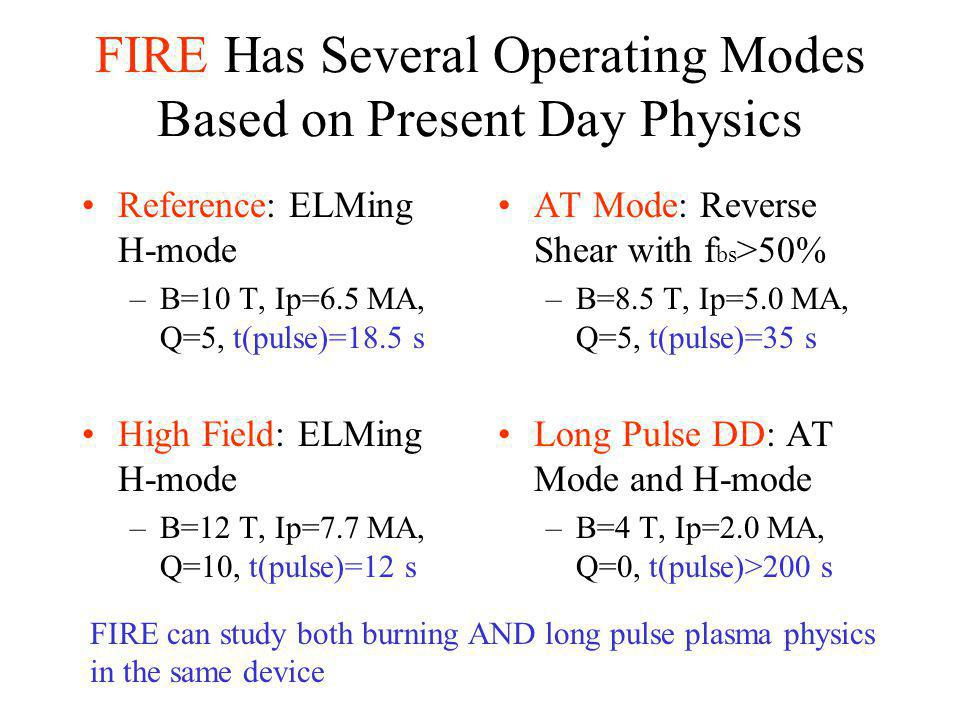 FIRE Has Several Operating Modes Based on Present Day Physics Reference: ELMing H-mode –B=10 T, Ip=6.5 MA, Q=5, t(pulse)=18.5 s High Field: ELMing H-mode –B=12 T, Ip=7.7 MA, Q=10, t(pulse)=12 s AT Mode: Reverse Shear with f bs >50% –B=8.5 T, Ip=5.0 MA, Q=5, t(pulse)=35 s Long Pulse DD: AT Mode and H-mode –B=4 T, Ip=2.0 MA, Q=0, t(pulse)>200 s FIRE can study both burning AND long pulse plasma physics in the same device