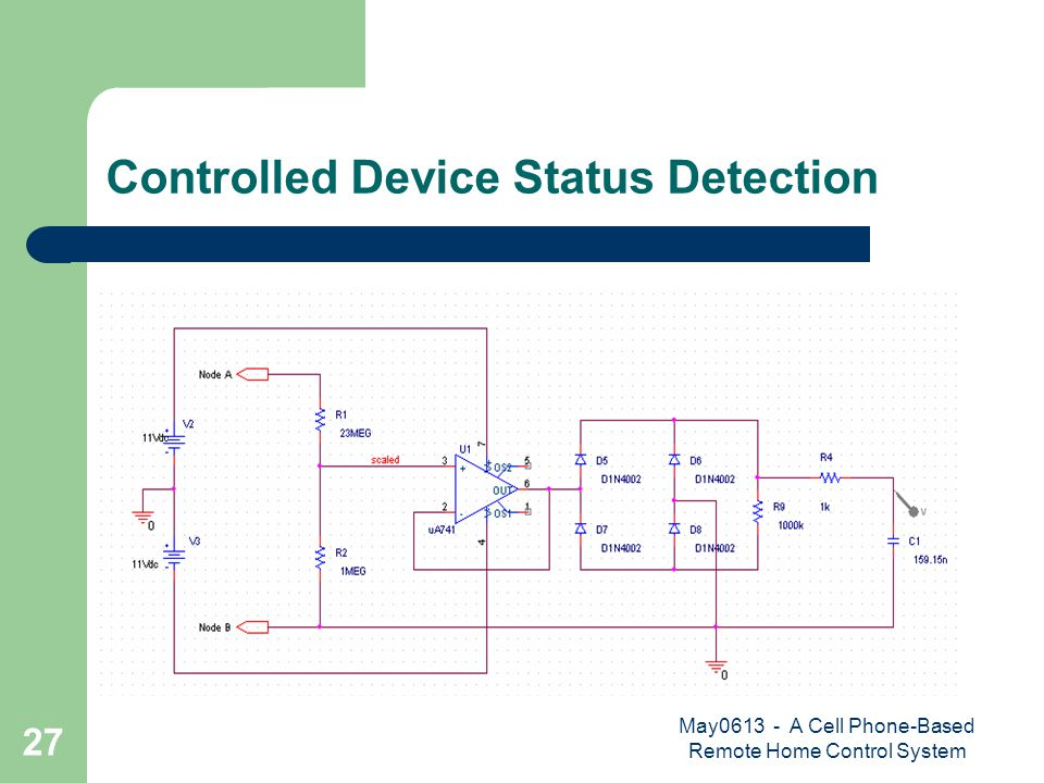 May0613 - A Cell Phone-Based Remote Home Control System 27 Controlled Device Status Detection