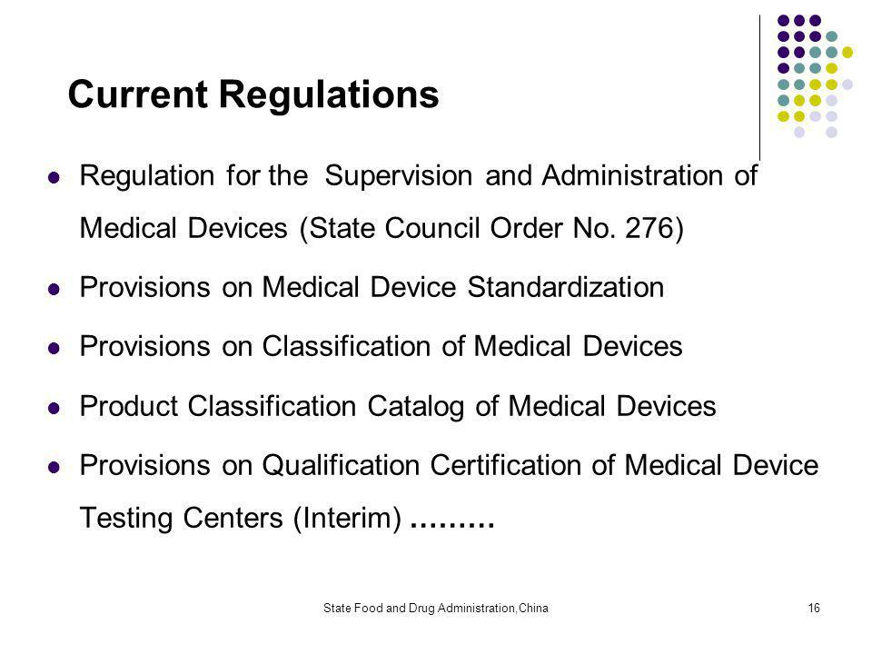 State Food and Drug Administration,China16 Current Regulations Regulation for the Supervision and Administration of Medical Devices (State Council Order No.