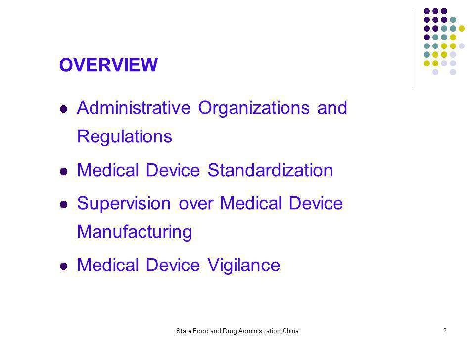 State Food and Drug Administration,China2 OVERVIEW Administrative Organizations and Regulations Medical Device Standardization Supervision over Medical Device Manufacturing Medical Device Vigilance