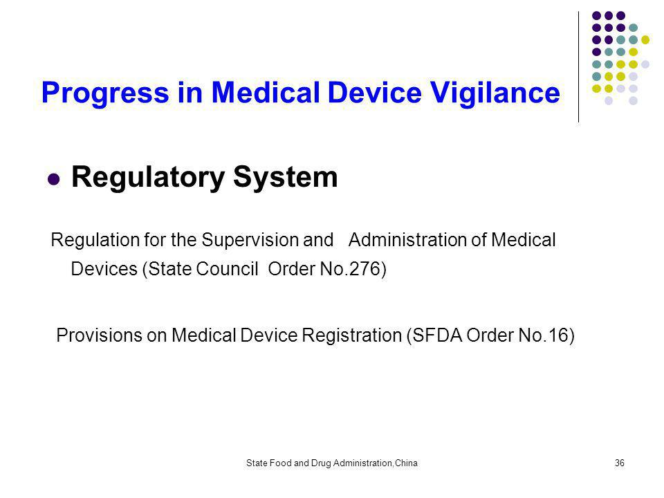 State Food and Drug Administration,China36 Regulatory System Regulation for the Supervision and Administration of Medical Devices (State Council Order No.276) Provisions on Medical Device Registration (SFDA Order No.16) Progress in Medical Device Vigilance