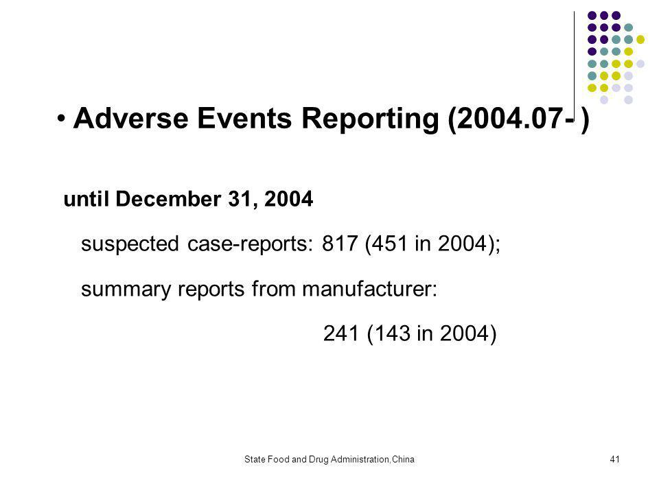 State Food and Drug Administration,China41 Adverse Events Reporting (2004.07- ) until December 31, 2004 suspected case-reports: 817 (451 in 2004); summary reports from manufacturer: 241 (143 in 2004)