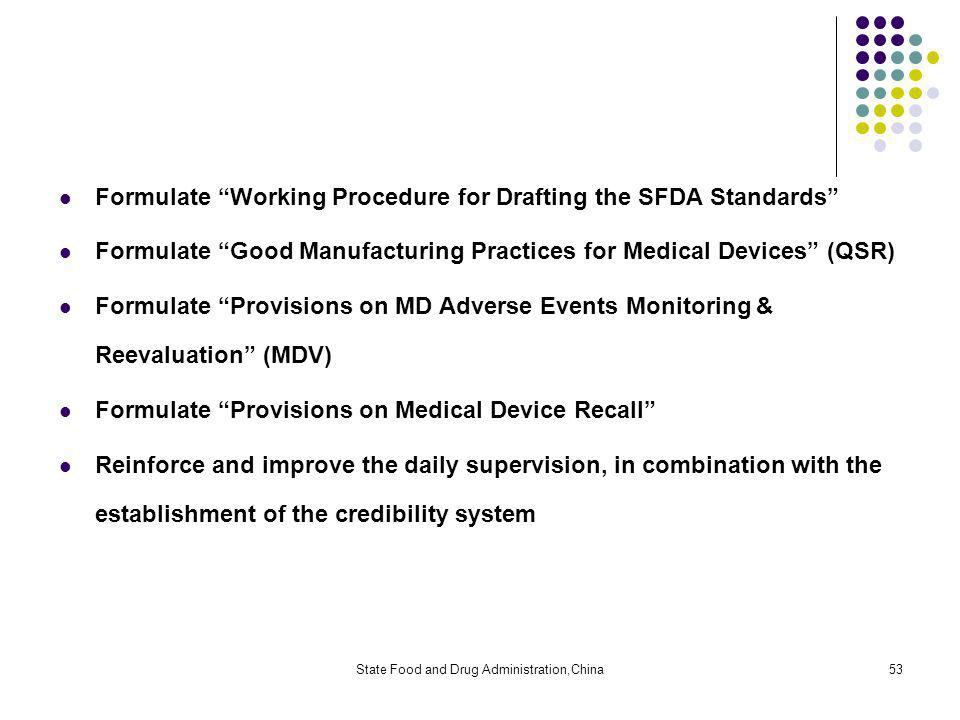 State Food and Drug Administration,China53 Formulate Working Procedure for Drafting the SFDA Standards Formulate Good Manufacturing Practices for Medical Devices (QSR) Formulate Provisions on MD Adverse Events Monitoring & Reevaluation (MDV) Formulate Provisions on Medical Device Recall Reinforce and improve the daily supervision, in combination with the establishment of the credibility system