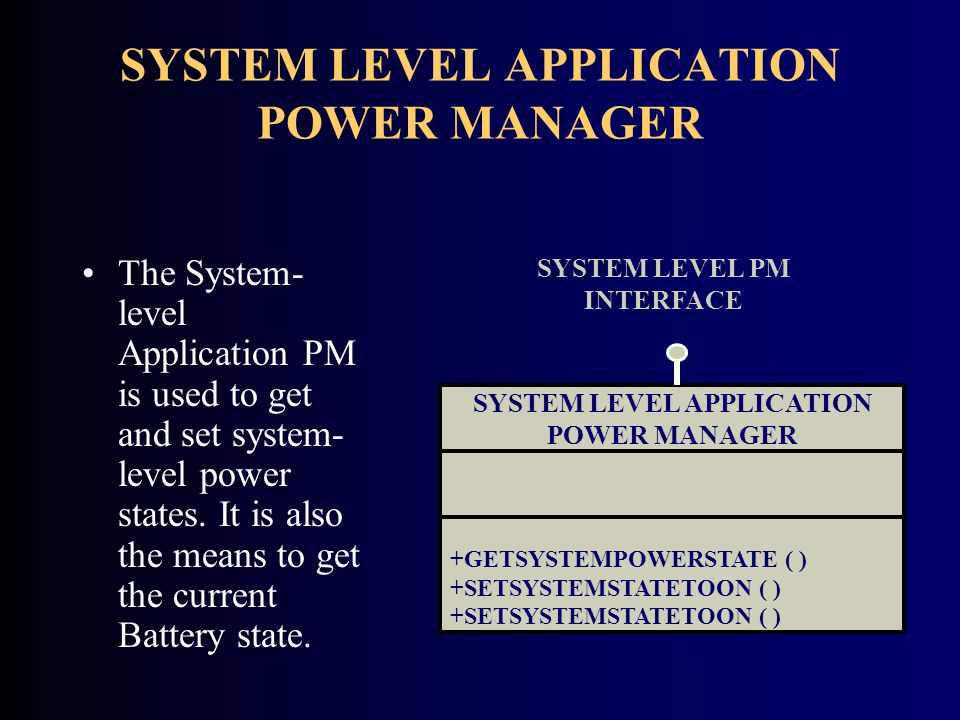 SYSTEM LEVEL APPLICATION POWER MANAGER The System- level Application PM is used to get and set system- level power states.