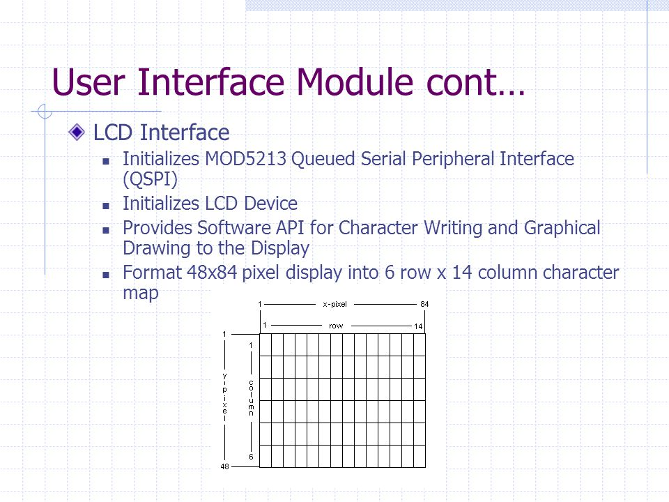 User Interface Module cont… LCD Interface Initializes MOD5213 Queued Serial Peripheral Interface (QSPI) Initializes LCD Device Provides Software API for Character Writing and Graphical Drawing to the Display Format 48x84 pixel display into 6 row x 14 column character map
