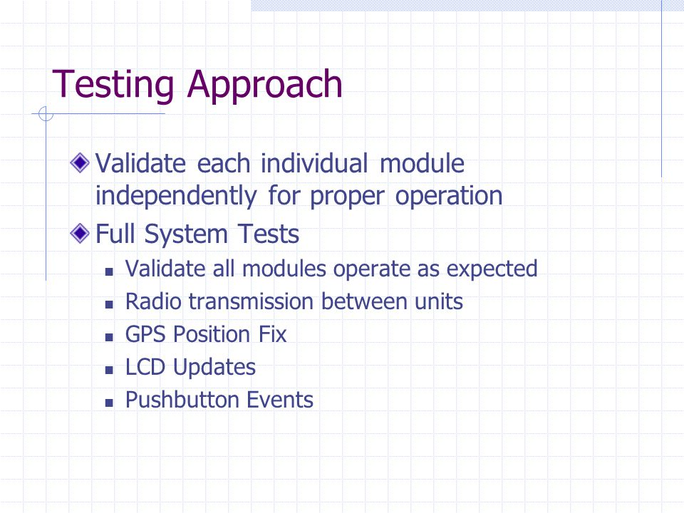 Testing Approach Validate each individual module independently for proper operation Full System Tests Validate all modules operate as expected Radio transmission between units GPS Position Fix LCD Updates Pushbutton Events