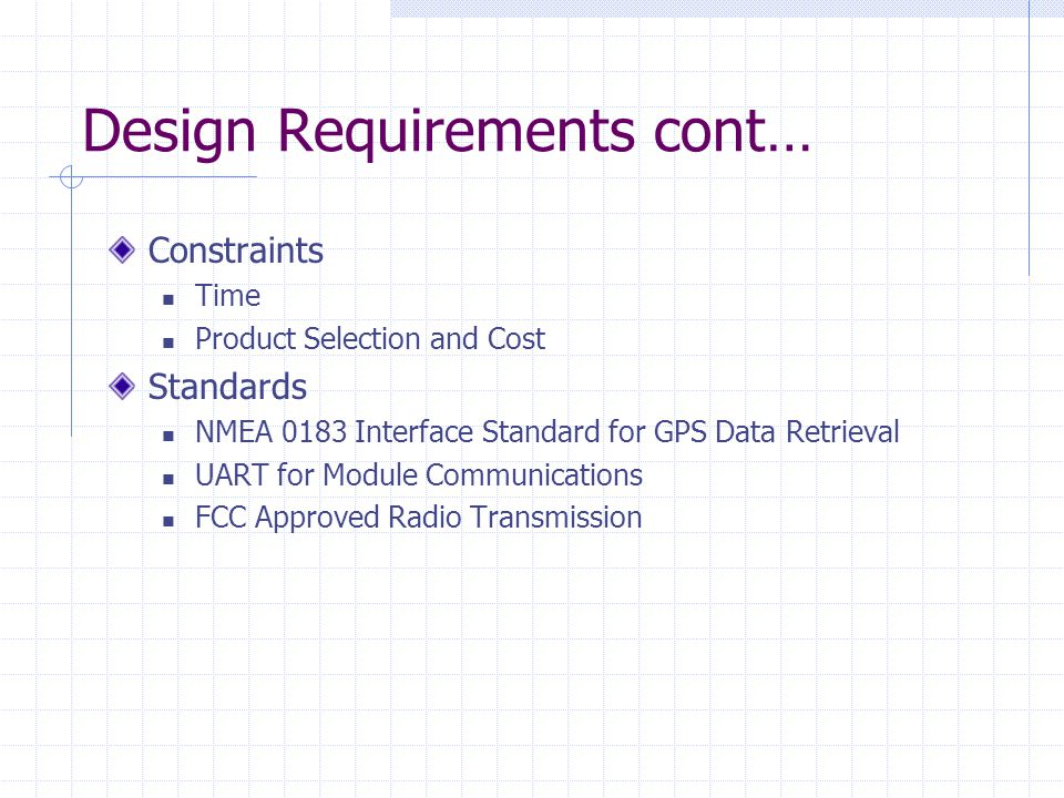 Design Requirements cont… Constraints Time Product Selection and Cost Standards NMEA 0183 Interface Standard for GPS Data Retrieval UART for Module Communications FCC Approved Radio Transmission