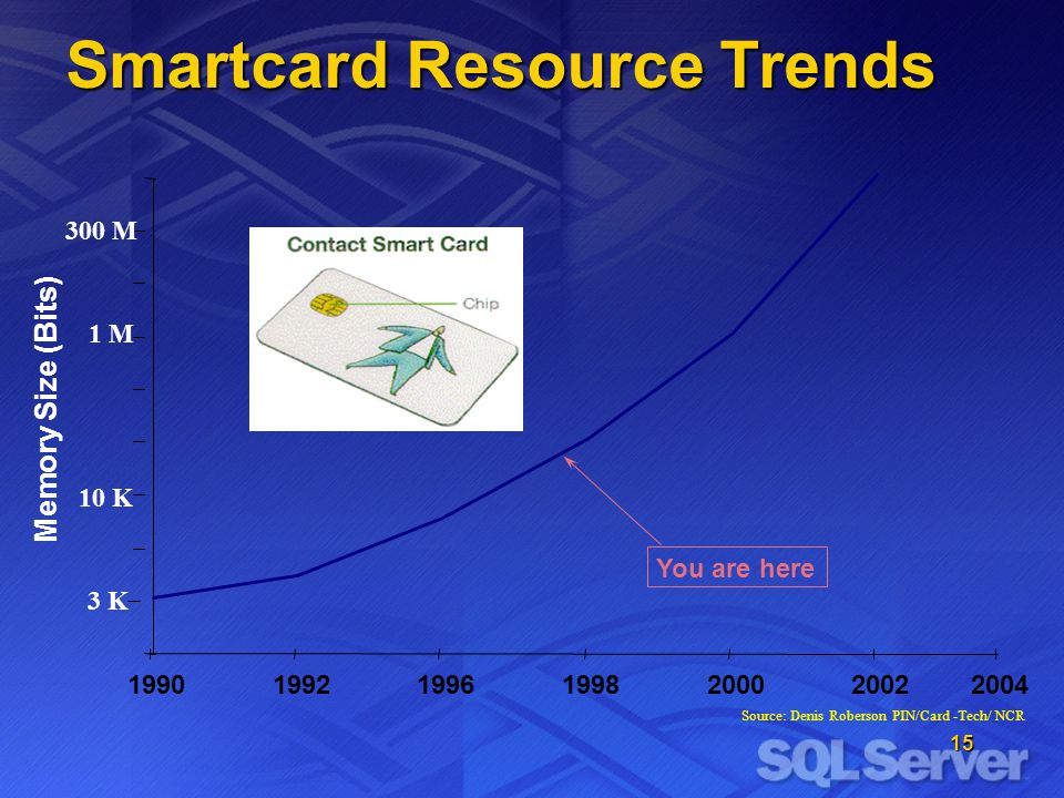 15 Smartcard Resource Trends Source: Denis Roberson PIN/Card -Tech/ NCR 199019921996199820002002 Memory Size (Bits) 300 M 1 M 3 K 10 K You are here 2004