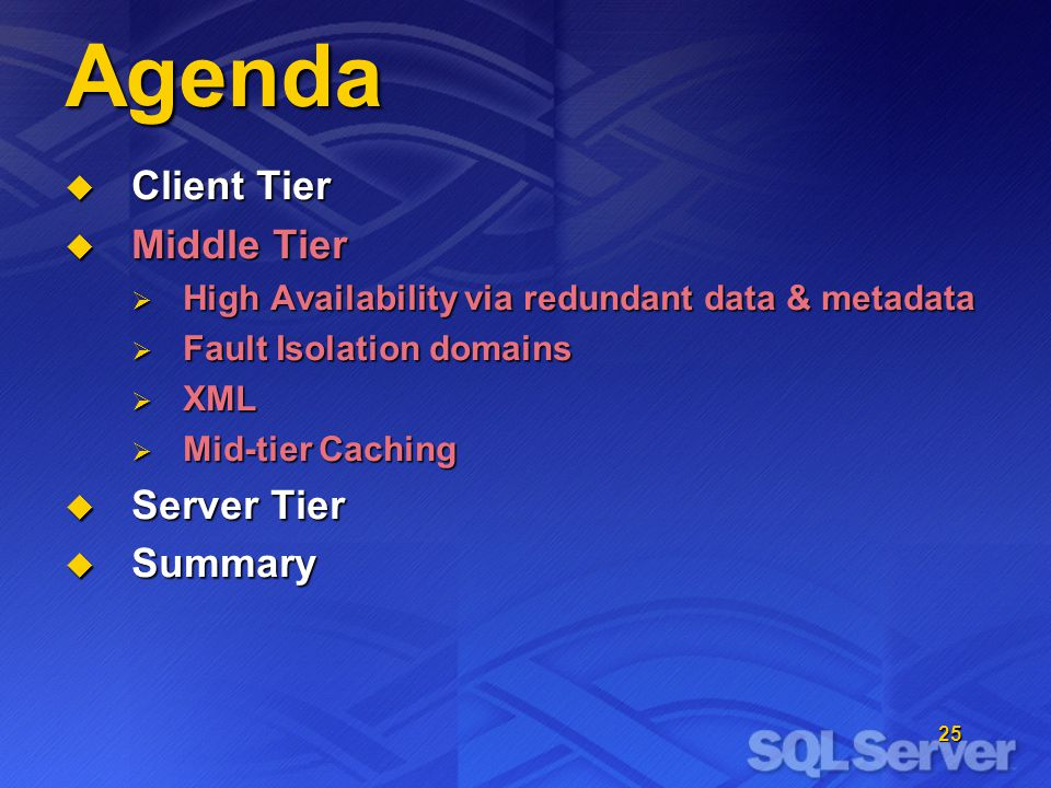 25 Agenda Client Tier Client Tier Middle Tier Middle Tier High Availability via redundant data & metadata High Availability via redundant data & metadata Fault Isolation domains Fault Isolation domains XML XML Mid-tier Caching Mid-tier Caching Server Tier Server Tier Summary Summary