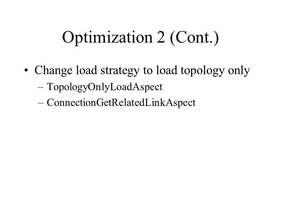 Optimization 2 (Cont.) Change load strategy to load topology only –TopologyOnlyLoadAspect –ConnectionGetRelatedLinkAspect