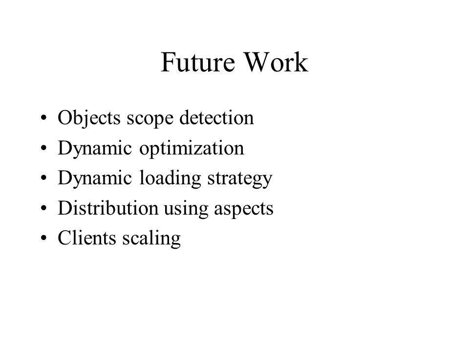 Future Work Objects scope detection Dynamic optimization Dynamic loading strategy Distribution using aspects Clients scaling