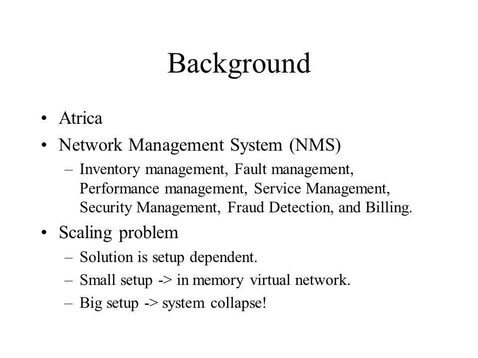 Background Atrica Network Management System (NMS) –Inventory management, Fault management, Performance management, Service Management, Security Management, Fraud Detection, and Billing.