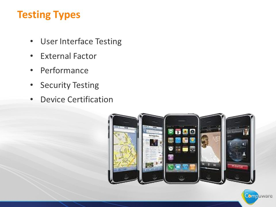 Testing Types User Interface Testing External Factor Performance Security Testing Device Certification